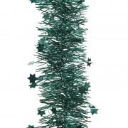 Geen 2x Smaragd groene kerstversiering folie slinger met ster 270 cm