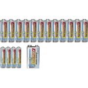 Set baterii alcaline Conrad energy, 1 x 9 V, 4 AAA, 12 AA