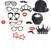 Foto prop set met 16 stuks bril - snor - kroon - hoed - baard - lippen