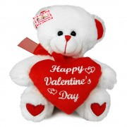 Grabadeal Teddy Bear holding red Happy Valentines Day Heart (White) - 38 cm