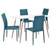 [en.casa]® Design blagovaonski set - stol sa 4 stolice (tirkizna)