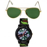 Men Green Army Print Watch With Green Aviator Sunglasses