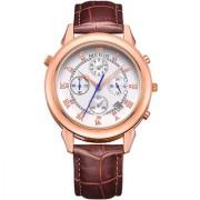 Megir Crown Prince Rose Gold Brown Strap Luxury Chronograph White Dial Men's Watch