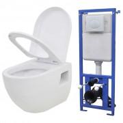 vidaXL Окачена тоалетна чиния, със скрито казанче, керамична, бяла