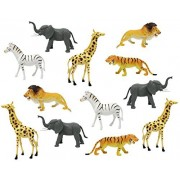 "Boley 12pc Jumbo Safari Animals - 9"" Assorted Jungle Animals"