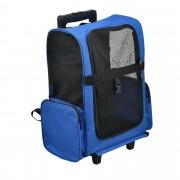 [pro.tec]® Kisállat szállítókocsi hátizsák 2 az 1-ben kerekes bőrönd szállító táska 36 x 30 cm kék