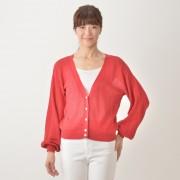 CECIL CAUSE コットン混透かし編みカーディガン【QVC】40代・50代レディースファッション