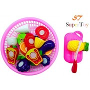 SuperToy(TM) Vegetables & Fruit Cooking Play House Set Toy with Cutting Board, Basket, Knife & Various Types of Fruits for Kids, Multi Color