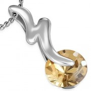 Ezüst színű nyaklánc cirkónia kristályos medállal