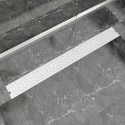 vidaXL Rovný sprchový odtok s bublinkami, 1030x140 mm, nerezová oceľ