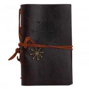 Agenda Notebook Vintage de calatorie cu coperta din Piele Ecologica Maro