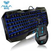 AULA SHIHUNZHAN retroiluminada por luz USB con cable Teclado de juego con 104 teclas + juego de mouse - negro