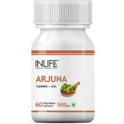 INLIFE Natural Arjuna Extract 500 mg 60 Veg Capsules For Cardiac Brain Health