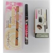 Mars Blusher Palette with music flower gel eyeliner and sketch pen eyeliner(set of 3)