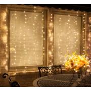 Perdea Luminoasă Tip Franjuri 3M x 1M De Inchiriat, 150 LEDuri , Cablu Transparent, Lumină Caldă, Conectabilă 15M, de Exterior