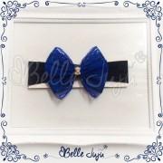 bellejuju Bandolete/Fita Infantil com Laço de Renda Azul Marinho e Strass