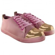 Blinder Women's Pink Golden Lace-Up Casual Sneakers Shoes