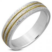 Arany és ezüst színű, homokfújt nemesacél gyűrű ékszer