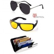 Ediotics Attitude Black Aviator Sunglasses & Yellow Night Driving Sunglasses & Alumi Wallet Combo