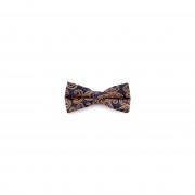 Tailor Toki Marineblauw & Oranje Paisley Polyester Voorgebonden Vlinderdas