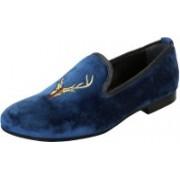 Bare Skin Deer head blue velvet slip on shoe Casuals For Men(Blue)