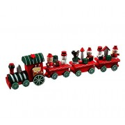 Oksale 4 Pieces/Set Wooden Santa Christmas Xmas Train Decoration Decor Gift for Kids