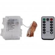 ER 6m De Cable De Cobre De 60 LED Luz De Hadas Cadena 3AA La Caja De Batería Con Control Remoto 6m-Violeta