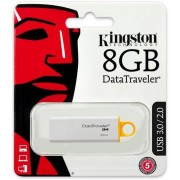 Kingston DataTraveler G4, USB 3.0 minne, 8GB, vit/gul - (DTIG4/8GB)