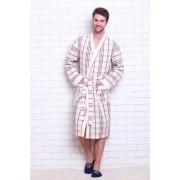 Evateks Комфортный мужской халат из высококачественного вафельного материала бежевого цвета в клетку Evateks №10021 Бежевый