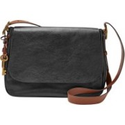 Fossil Women Black Genuine Leather Sling Bag