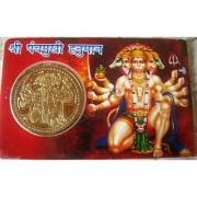 Shri Panchmukhi Hanuman Pocket Yantra Golden Plated Coin In Card Diwali Gifts
