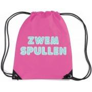 Zwemspullen rugzakje fuchsia roze - nylon zwemtas met rijgkoord - tas voor zwemles