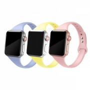 Set 3 curele slim din silicon pentru Apple Watch 1 / 2 / 3 / 4 / 5 38mm / 40mm , galben, roz, lila
