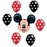 MICKEY MOUSE Red Black Polka Dots Head Figure 7 Mylar + Latex Balloons Set Kit