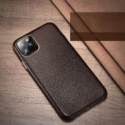 XOOMZ Litchi Grain Genuine Leather Phone Shell for iPhone 11 Pro 5.8 inch (2019) - Coffee