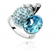 Inel argint cu elemente swarovski white cristal blue apple