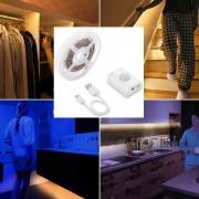 LED světlo do kuchyně, postel, schodiště SADA 1M pás na senzor pohybu + Li-on baterie