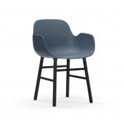 Normann Copenhagen Armlehnstuhl Holzfüße schwarz Kunststoff blau