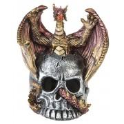 Röd och Guldfärgad Drake på Dödskalle - 9 cm Figur