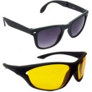 Hrinkar Wayfarer Sunglasses(Grey, Yellow)