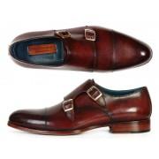 Paul Parkman Cap Toe Double Monk Strap Shoes Brol Dark Brown 045-BRL