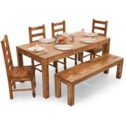 Shagun Arts - Gresham-Dama 6 Seater Dining Table Set(With Bench)