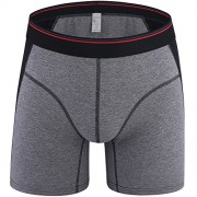 iKingsky Men's Cotton Trunks Underwear Solid Color Boxer Briefs (US Medium/with Tag XXL, Gray)