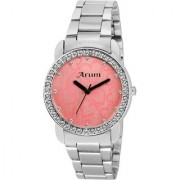 Arum Pink Round Dial Stainless Steel Strap Analog Watch for Women's and Girl's ASWW-021