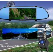 Camera Auto Oglinda TouchScreen DVR Ecran 7 and inch Camera dubla Fata/Spate Full HD 1920p G senzor Unghi de filmare 170 and deg