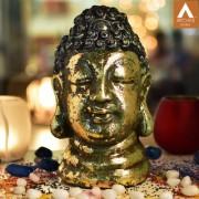 Archies golden and blue polyresin decor Buddha face idol showpiece