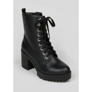 Matalan Wide Fit Heeled Lace Up Boots in Size 6, Black