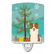 Caroline's Treasures Merry Christmas Tree Border Collie Luz Nocturna de cerámica, Color Rojo y Blanco, 6 x 4, Multicolor