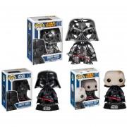 Funko Darth Vader Colección 3 Figuras Incluye Edicion Exclusiva Cromada Unmasked-Multicolor