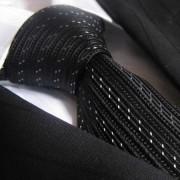 Distino Of Melbourne Mezzanotte Silk Necktie Black 27